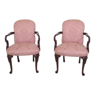 Modern Solid Cherry Queen Anne Upholstered Arm Chairs- A Pair For Sale
