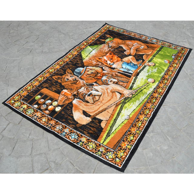 Boho Chic Vintage - Dogs Playing Pool - Wall Tapestry Wall Rug - 49ʺ X 70ʺ For Sale - Image 3 of 10