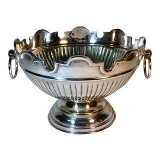 Vintage Large Ribbed Silverplate Footed Centerpiece/Punch Bowl W/ Handles For Sale