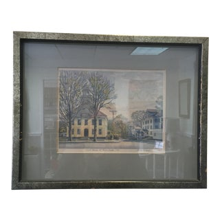 1960s Americana Painting of Court House at Manchester, Vt in Silver Distressed Frame For Sale