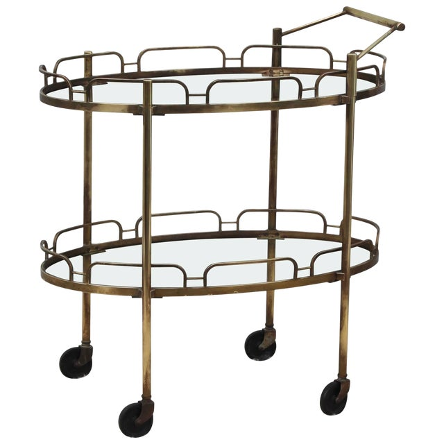 Signed Maxwell-Phillips Patinated Brass Bar Cart For Sale