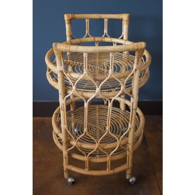Vintage Round Bamboo & Glass Bar Cart For Sale - Image 4 of 8