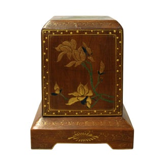 Chinese Brown Lacquer Flower Graphic Display Box For Sale