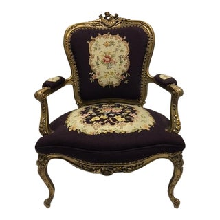 Gold Gilt Louis XV Needlepoint Chair For Sale