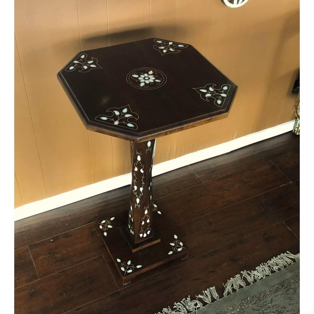 Brown Mother of Pearl Inlay Chess Board Table For Sale - Image 8 of 10