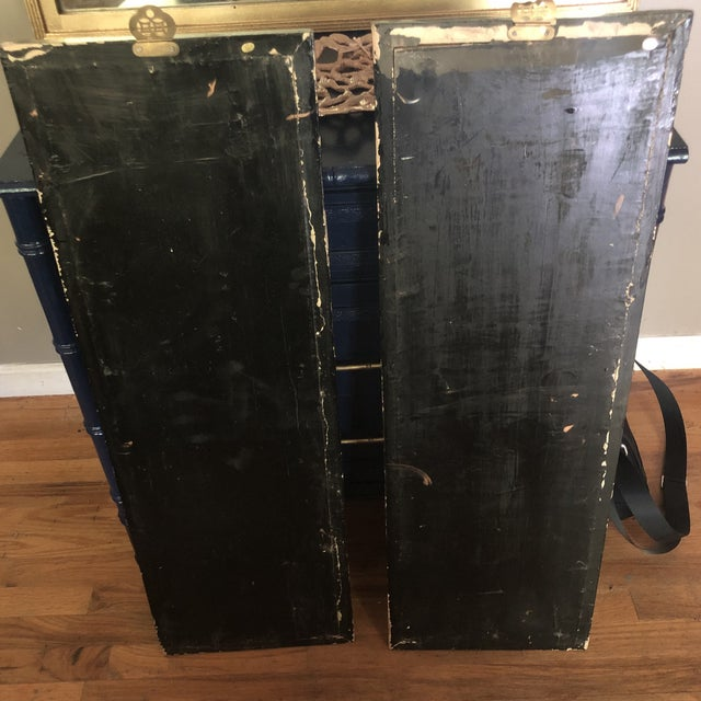 Asian Black Lacquer Wall Panels With Mother of Pearl - a Pair For Sale - Image 4 of 6