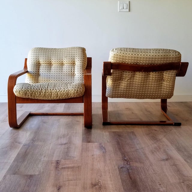 Mid-Century Modern 1970s Westnofa Bentwood Lounge Chairs - a Pair For Sale - Image 3 of 13