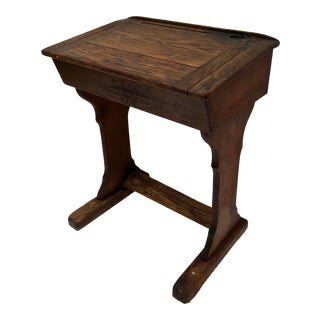 Antique Late 1800s Handcrafted Oak School Desk For Sale