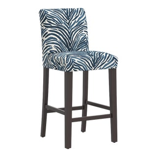Washed Zebra Blue Bar Stool For Sale