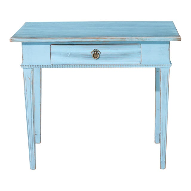 Antique Gustavian Writing Desk Original blue paint (rare) with gilt original fitting and single drawer. Dates from early...