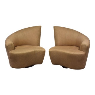 Vladimir Kagan Beige Bilbao Lounge Chairs - a Pair For Sale