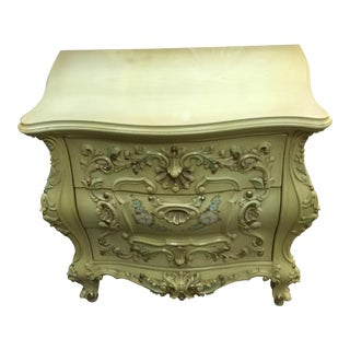 1900s French Provincial Beige Wood Carved Nightstand
