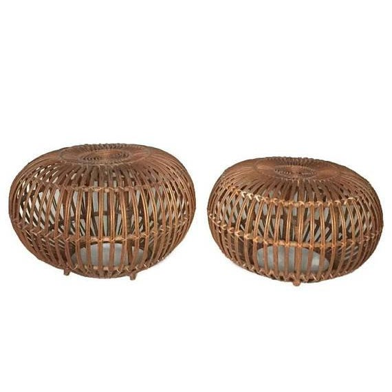 "Franco Albini Mid Century Modern Side Tables Albini Rattan Ottomans 24"" - A PAIR For Sale - Image 4 of 12"
