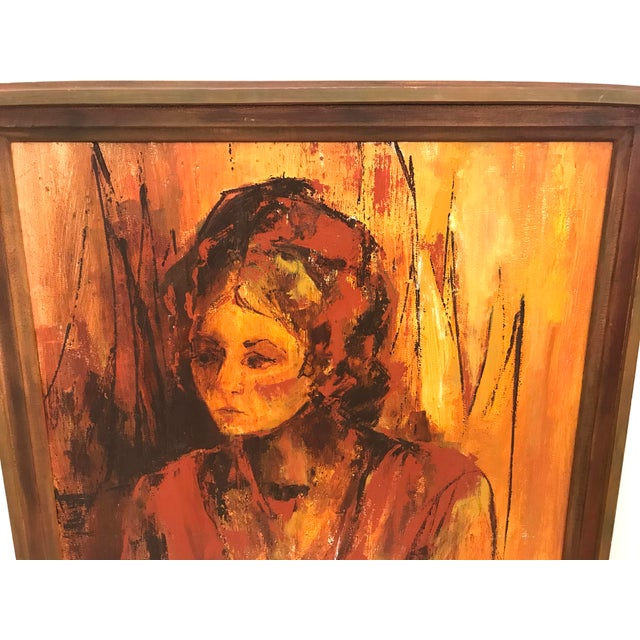 Mid 20th Century Mid-Century Original Portrait of a Woman Painting For Sale - Image 5 of 13