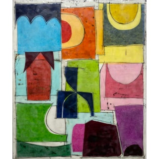 """""""Silent Movies"""" Encaustic Collage Painting by Gina Cochran For Sale"""
