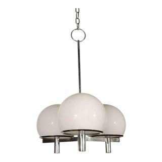 1960s Vintage Chrome & White Lightolier Ceiling Fixture For Sale