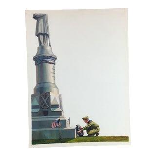 1950s Vintage Caddell Memorial Scene Gouache Painting For Sale