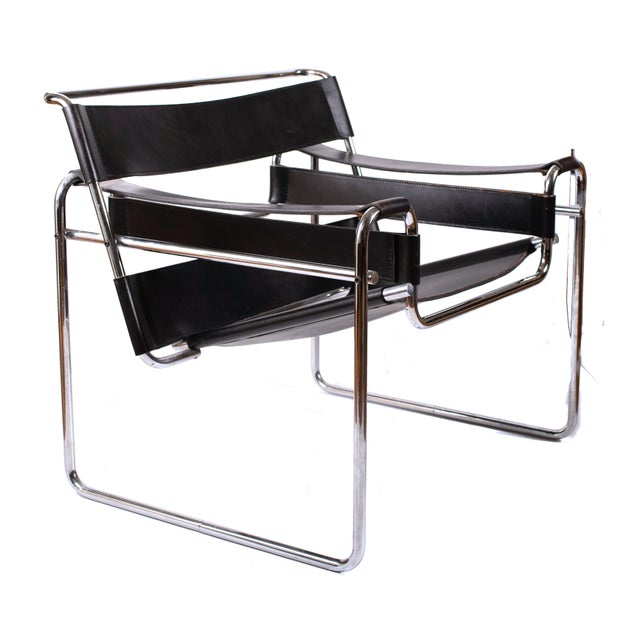 Vintage Marcel Breuer Mid Century Modern Wassily Black Strap Leather Chair For Sale In Dallas - Image 6 of 6