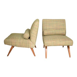 Mid Century Modern Pair of Slipper Chairs in the Style of Jens Risom Overall Chartreuse For Sale