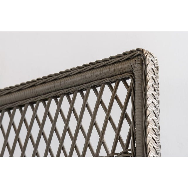 Boho Chic Vintage High Back Wicker Loveseat/Settee in Grey For Sale - Image 3 of 12