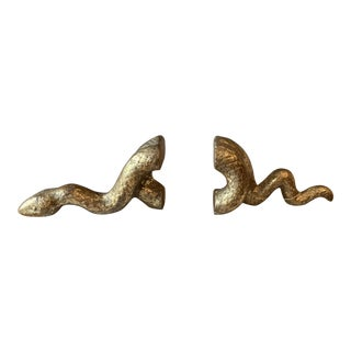 Bungalow 5 Brushed Brass Snake Bookends - a Pair For Sale