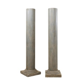 French Vintage Doric Style Painted Plaster Columns-A Pair For Sale