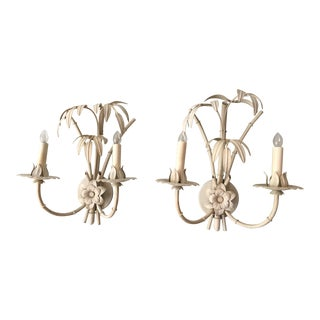 20th Century Art Nouveau Palm Beach Style Wall Sconces - a Pair For Sale