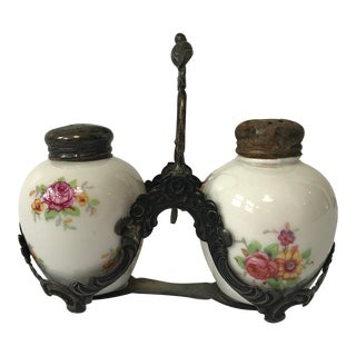 Vintage Salt & Pepper Shakers & Caddie For Sale