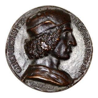 "15th Century ""Allesandro DI Gino Vecchietti"" Bronze Relief Medallion C.1498 For Sale"