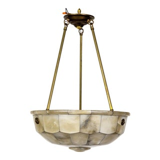 Mosaic Veined Alabaster Bowl Pendant For Sale