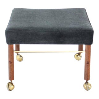 Vintage Mid Century Square Newly Upholstered in Black or Charcoal Mohair Bench For Sale