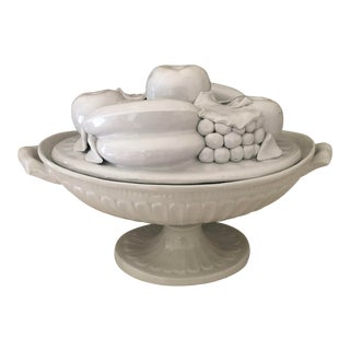Italian Blanc De Chine Fruit Tureen, Trompe L'oeil For Sale