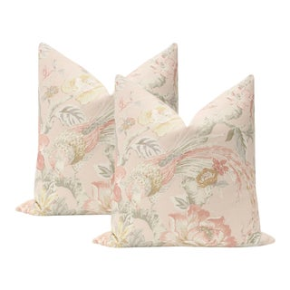 """22"""" Blush Floral Aviary Print Pillows - a Pair For Sale"""