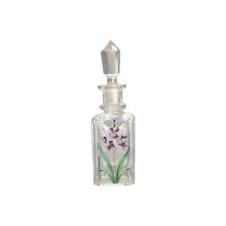 Antique Painted Cut Crystal Scent Bottle For Sale