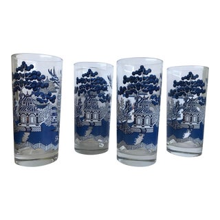 Vintage Johnson Brothers Blue Willow Tumblers Glasses - Set of 4 For Sale