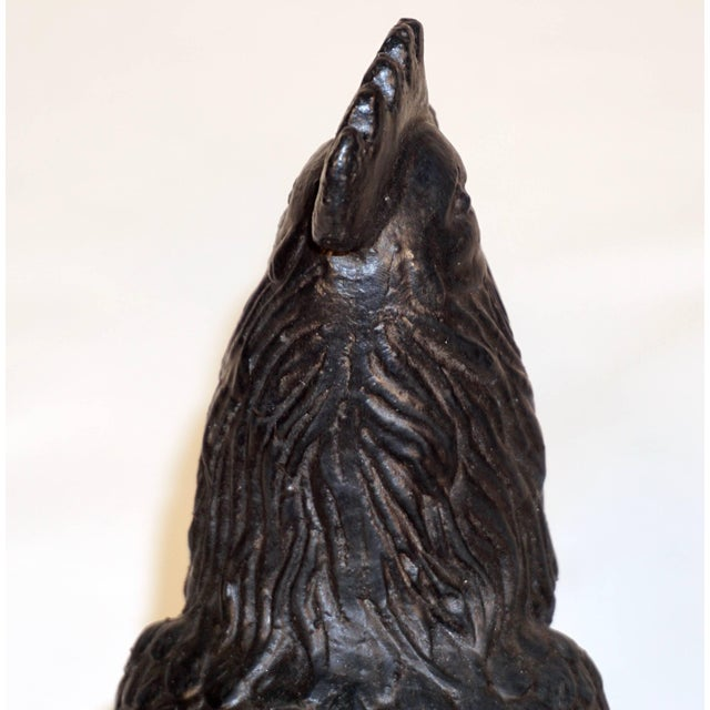 Metal 1890s Antique French Folk Art Black Cast Iron Sculpture Rooster For Sale - Image 7 of 12
