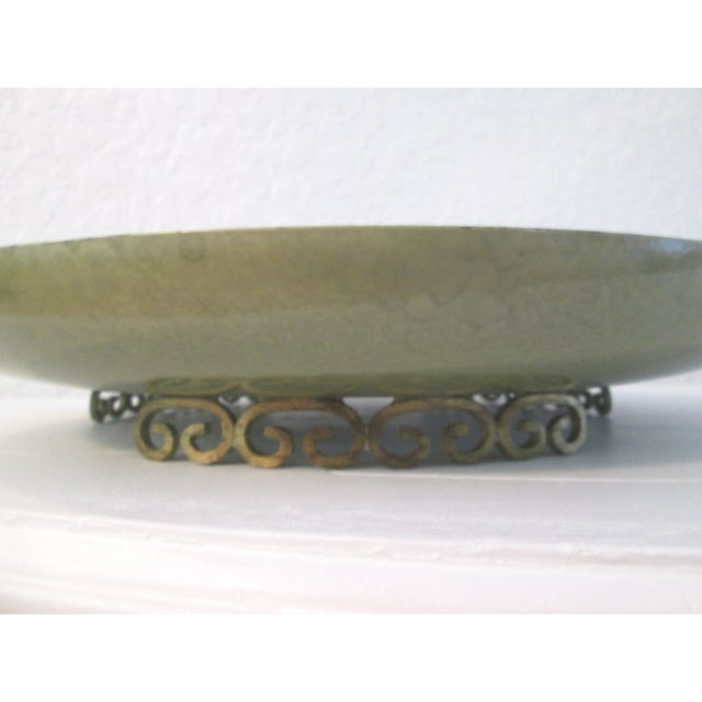 Kyes Moiré Olive Green Footed Bowl - Image 5 of 6