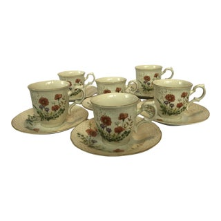 Mikasa Fine Ivory Margaux Teacup & Saucer Set of 6