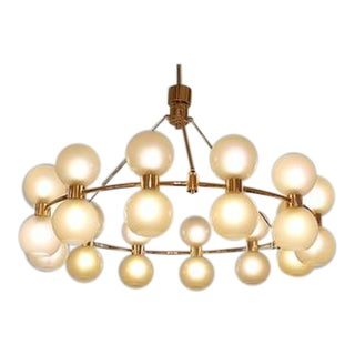 Large Italian Crown Chandelier In Brass And Opaline