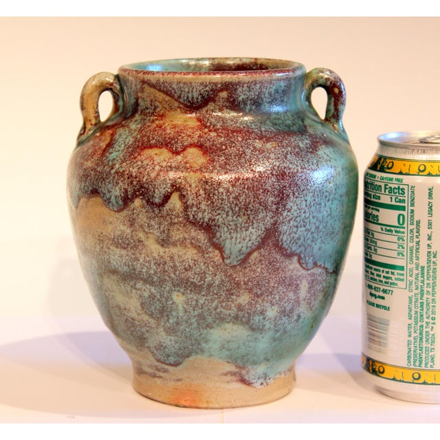 Vintage 1940s Pottery Arts & Crafts Jugtown Flambe North Carolina Chinese Jun Vase For Sale - Image 10 of 12