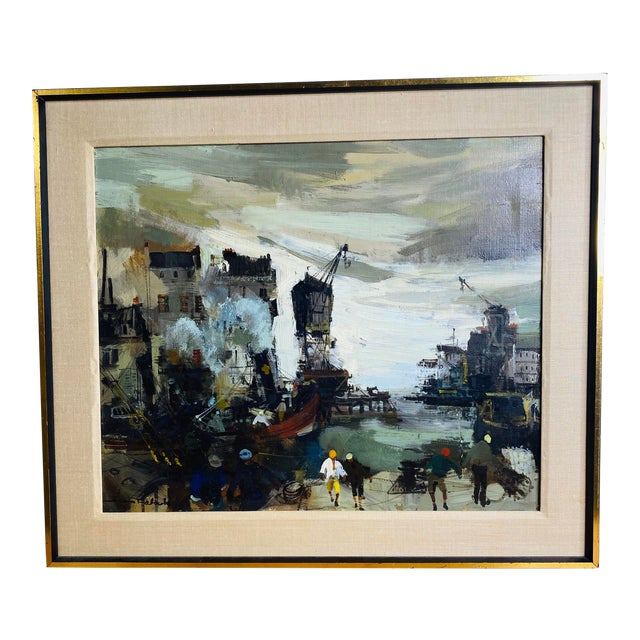 Mid 20th Century French Brutalist Style Oil Painting, Framed For Sale