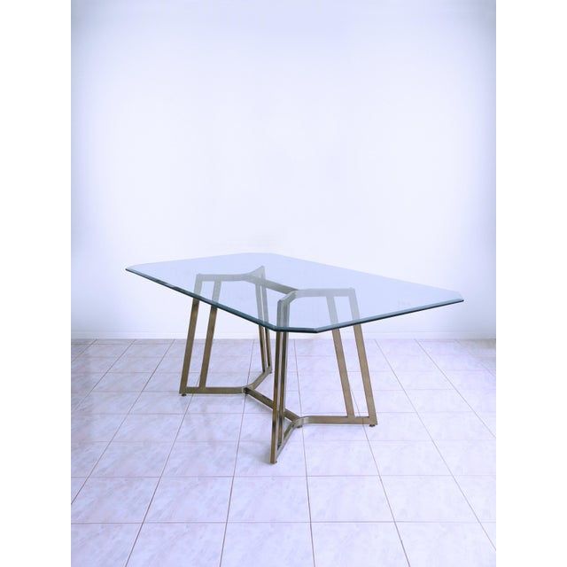 Metal Mid-Century Modern Mastercraft Space Age Brass & Glass Dining / Conference Table For Sale - Image 7 of 8