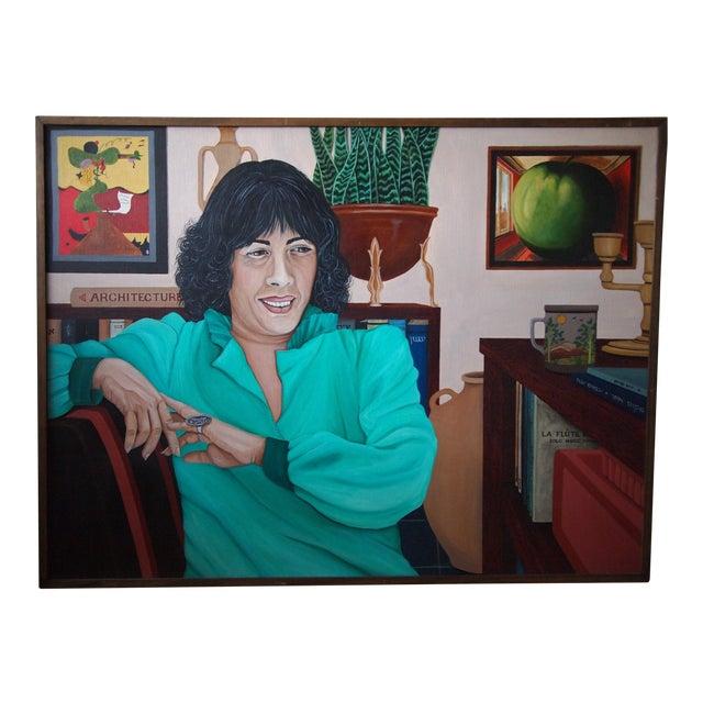 Original 1984 Arona Reiner Mid-Century Modern Postmodern Female Portrait Oil on Canvas Painting For Sale