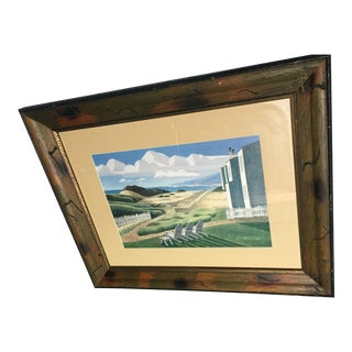 Framed Modern Landscape Drawing For Sale
