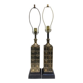 Vintage Laurel Table Lamps With Chess Motif - A Pair For Sale