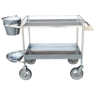 1970s Modern Industrial Metal Bar Cart For Sale