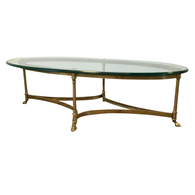LaBarge Hollywood Regency Brass Oval Coffee Table For Sale