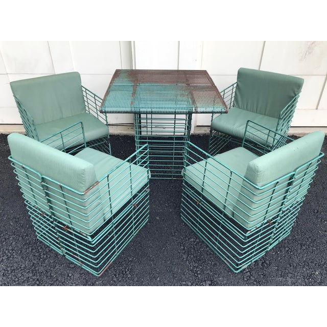 Rare Josef Hoffmann Style Curvilinear Perforated Outdoor Dining Set - 5 Pieces For Sale - Image 12 of 12