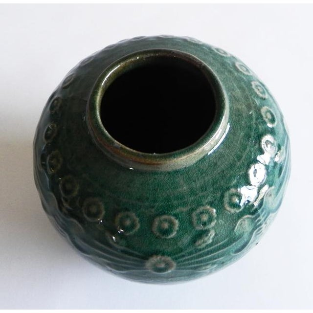 2010s Asian Antique Green Varnish Vase For Sale - Image 5 of 6