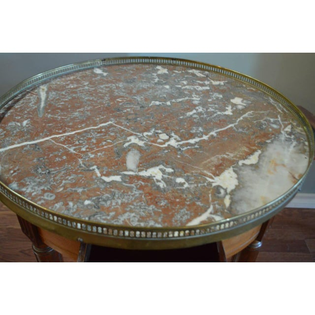 Traditional Louis XVI Style Mahogany Bouillotte Table With Original Marble Top For Sale - Image 3 of 9